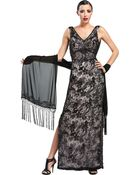 Sue Wong Floral Cowl Back Evening Dress - Lyst