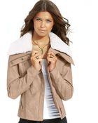 American Rag Plus Size Faux-Leather Faux-Fur-Trim Bomber Jacket - Lyst