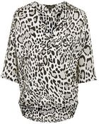 Topshop Animal Print Drape Blouse - Lyst