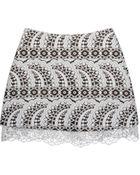 Cynthia Rowley Jacquard Mini Skirt W- Lace Trim - Lyst