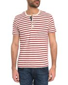 Denim & Supply Ralph Lauren Henley Red Striped T-Shirt With Flag Button Tab - Lyst