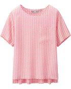 Uniqlo Silk Printed Short Sleeve T Blouse - Lyst