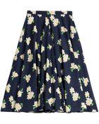 Michael Kors Navy Floral Silk Skirt - Lyst