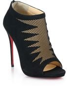 Christian Louboutin Mesh-Front Suede Open-Toe Booties - Lyst