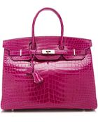 Heritage Auctions Special Collection 35cm Hermes Rose Scheherazade Shiny Porosus Crocodile Birkin - Lyst
