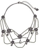 Betsey Johnson Blackout Crystal Flower Web Frontal Necklace - Lyst