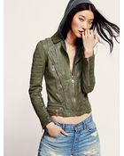 Doma Womens Green Hood Leather Jacket - Lyst