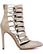 Akira Patent Caged Nude Heels - Lyst