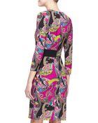 Etro Long-Sleeve Paisley Cady Dress - Lyst