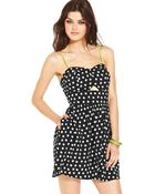 Material Girl Sleeveless Polka Dot Print Cut Out - Lyst