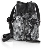 Halston Heritage Mini Metallic Python-Embossed Chain Bucket Bag - Lyst