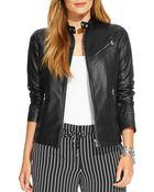 Ralph Lauren Lauren Plus Leather Moto Jacket - Lyst