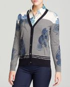 Tory Burch Catina Floral Stripe Cardigan - Lyst