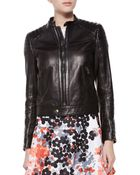 RED Valentino Leather Bomber Moto Jacket - Lyst