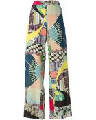 Etro Mixed Print Wide Leg Trousers - Lyst