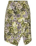 Topshop Jacquard Flower Wrap Skirt - Lyst