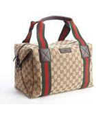 Gucci Beige Gg Canvas Web Stripe Small Duffel Bag - Lyst