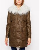 Urbancode Coated Canvas Parka With Faux Fur Collar - Lyst