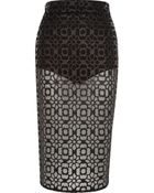 River Island Black Coated Lace Sheer Pencil Skirt - Lyst