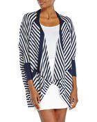 Splendid Navy & White Stripe Drape Front Knit Cardigan - Lyst