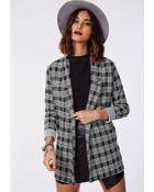 Missguided Margy Tartan Print Oversize Blazer Grey - Lyst