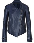 Donna Karan New York Leather Asymmetric Jacket - Lyst
