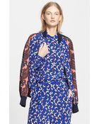 Stella McCartney Floral Print Silk Bomber Jacket - Lyst