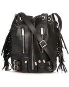 Saint Laurent Rider Fringed Leather Bucket Bag - Lyst