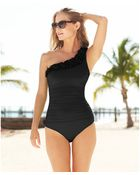 Kenneth Cole Oneshoulder Asymmetrical Ruffle Onepiece Swimsuit - Lyst