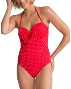 Spanx One-Piece Bandeau Push-Up Swimsuit - Lyst