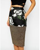 Asos Pencil Skirt In Mixed Print And Jacquard - Lyst