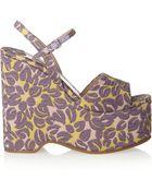 Miu Miu Floral Brocade Wedge Sandals - Lyst
