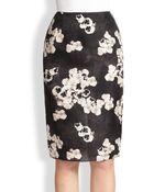 Giambattista Valli Pansy Print Silk Pencil Skirt - Lyst