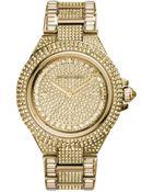 Michael Kors Camille Pavé Gold-Tone Watch - Lyst