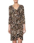 BCBGMAXAZRIA Petal Front Tie Dress Coffee Bean Combo Small - Lyst
