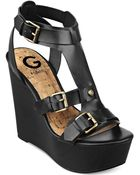 G by Guess Womens Tazzy Platform Wedge Sandals - Lyst