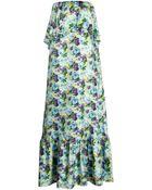MSGM Floral Ruffle Maxi Dress - Lyst