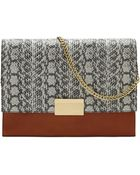 Vince Camuto Caleb Leather And Embossed Hair Calf Clutch - Lyst