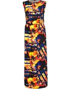 River Island Black Abstract Print Roll Sleeve Maxi Dress - Lyst