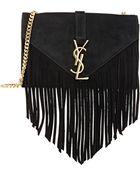 Saint Laurent Fringe Monogramme Shoulder Bag - Lyst