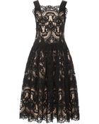 Marchesa Corded Lace Cocktail Dress - Lyst
