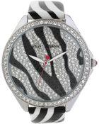 Betsey Johnson Women'S Black And White Zebra Stripe Leather Strap Watch 48Mm Bj00248-09 - Lyst