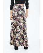 Forever 21 Floral Velveteen Maxi Skirt - Lyst