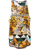 MSGM Graphic Floral Print Tank - Lyst