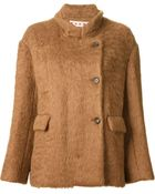 Marni Notched Collar Textured Coat - Lyst