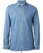 Maison Margiela Zipped Denim Shirt - Lyst