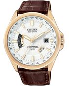 Citizen Mens Ecodrive World Time Brown Croc Embossed Leather Strap 43mm 04a - Lyst