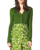 Michael Kors Cropped Cashmere Cardigan - Lyst