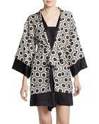 Josie Natori Hexagon Printed Wrap Robe - Lyst