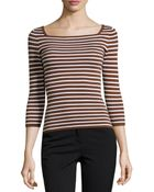 Michael Kors Striped Cashmere 3/4-Sleeve Top - Lyst